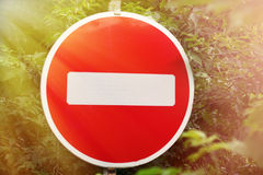 Sign prohibit street traffic red. Royalty Free Stock Image