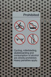 Sign prohibiting cycling, skateboarding. A sign at a train station prohibiting cycling, skateboarding, drinking and rollerblading.  The sign is on a perforated Stock Photos