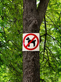 Sign prohibiting dog walking in a botanical garden Stock Images