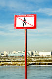Sign prohibiting out on the ice Stock Image