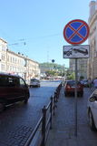 Sign prohibiting parking. Traffic sign prohibiting parking on the street. European culture in the city of Lviv. Ukraine Royalty Free Stock Photos