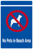 Sign Prohibiting pets on Beach Royalty Free Stock Photography
