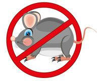Sign prohibiting rodent. Red sign forbid bad rodent of the rats and mouses Stock Image