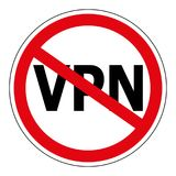 Sign prohibiting the use Anonymizer service VPN, sign vector red crossed out circle the word VPN, Virtual Private Network Stock Images