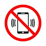 The use of a mobile phone is prohibited vector illustration