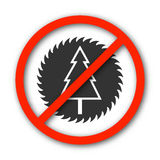 Sign prohibition deforestation, vector illustration. Royalty Free Stock Photography