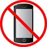 Sign of prohibition of use of cell phones. Royalty Free Stock Photo