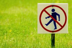 The sign prohibits to walk Stock Image