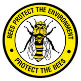 Sign - Protect the bees. A bright environmental sign with a bee on it. Bees are disappearing due to pesticide use Royalty Free Stock Photo
