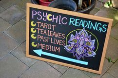 Sign for psychic readings stock photography
