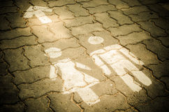 Sign of public toilets WC on the floor Royalty Free Stock Image