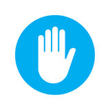 Sign push hand blue icon Stock Image