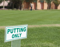 Sign on a putting range Stock Photography