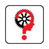 Sign with question mark and gear Royalty Free Stock Photo
