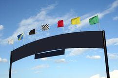 Sign with Racing Flags stock photo
