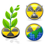Sign is a radiation and ecology. Illustration isolated on white background Royalty Free Stock Photo