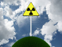Sign of radiation on the lap of nature. 3D image Royalty Free Stock Image