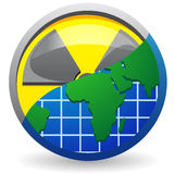 Sign is a radiation and map of planet. Illustration isolated on white background Stock Photo