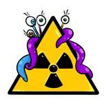 Sign radiation monster mutation cartoon illustration Royalty Free Stock Photo