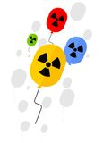 Sign of radioactive substances on balloon. Ecology design concept with air, water and soil pollution. Flat icons isolated vector illustration Stock Image
