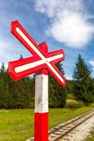 Sign of railroad crossing. Sign of railroad crossing of a single-track forest railway Stock Photography