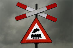 Sign railway crossing headlights on Stock Images