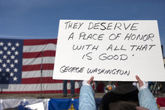 Sign at rally. Stock Image