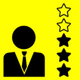 Sign rating. Rating sign with stars on a yellow background Stock Photo