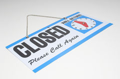 Sign reading Closed and Will Return Stock Image