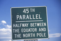 A sign that reads �45th Parallel� Royalty Free Stock Images