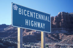 A sign that reads �Bicentennial Highway� Stock Photography