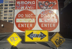 A sign that reads �Do not enter, wrong way� Stock Photo