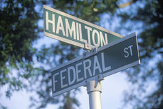 A sign that reads �Federal/Hamilton� Royalty Free Stock Photography