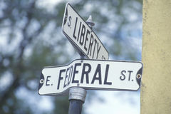 A sign that reads �Federal/Liberty� Stock Photos