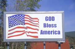 A sign that reads �God Bless America� Stock Photo