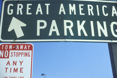 A sign that reads �Great America Parking� Royalty Free Stock Photography