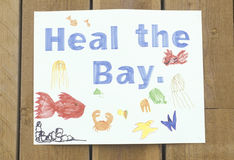 A sign that reads �Heal the Bay� Stock Photo