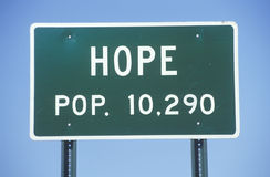 A sign that reads �Hope - Pop. 10,290� Royalty Free Stock Photo