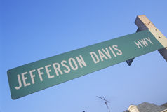 A sign that reads �Jefferson Davis Hwy� stock photos