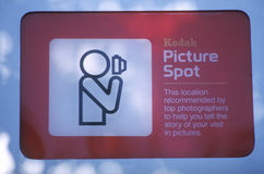 A sign that reads �Kodak Picture Spot� stock photo