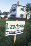 A sign that reads �Lawless - District Attorney� Royalty Free Stock Photography