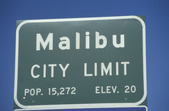 A sign that reads �Malibu city limit� Royalty Free Stock Photo