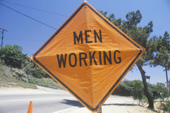 A sign that reads �Men working� Stock Image
