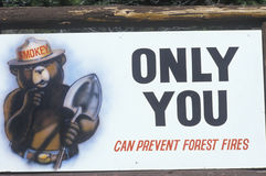 A sign that reads �Only you can prevent forest fires� Stock Images
