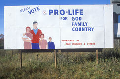 A sign that reads �Please vote pro-life� Royalty Free Stock Photos