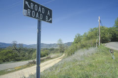 A sign that reads �Road A/Road B� Stock Photo