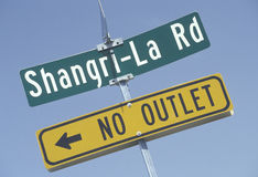 A sign that reads �Shangri-La Rd� Royalty Free Stock Photos