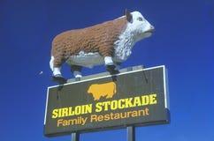 A sign that reads �Sirloin Stockade Family Restaurant� Stock Photos