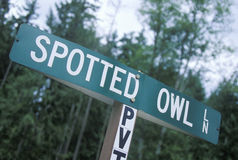 A sign that reads �Spotted Owl� Royalty Free Stock Photography