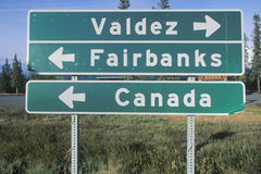 A sign that reads �Valdez/Fairbanks/Canada� Royalty Free Stock Photography